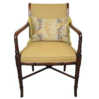 Regency Style Mahogany Finish Armchair, Late 20th Century