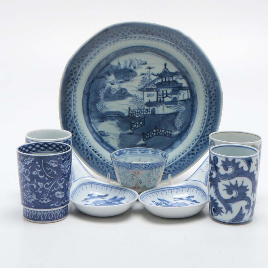 Chinese Porcelain Blue and White Serveware and Cups, Early-Mid 20th Ca.