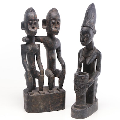 Handcrafted African Fertility Wood Carvings, Mid-20th Century