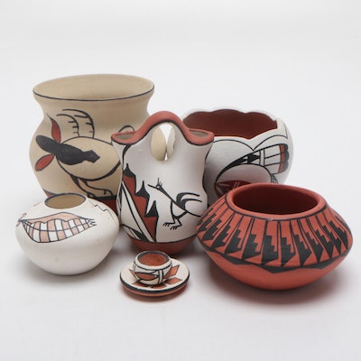 American Southwestern Style Slip Glazed Earthenware Pottery, Contemporary