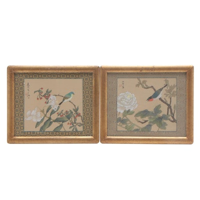 Chinese Flower and Bird Gouache and Watercolor Paintings