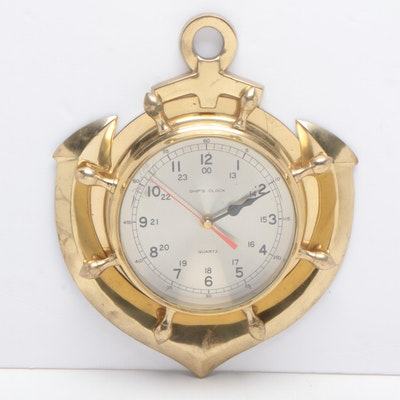 """Ship's Clock"" Brass Finish Naval Style Wall Clock"