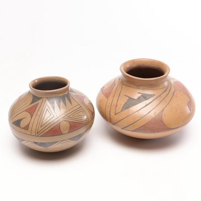Fiona Rodriguez and Other Coilbuilt Slip Glazed Vessels, Mid/Late 20th C.