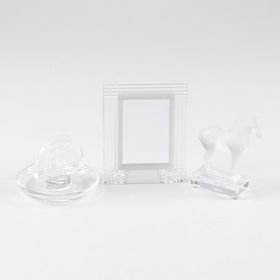 Lalique and Baccarat Crystal Paperweight, Ring Holder, and Picture Frame