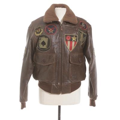 Leather Military-Style Bomber Jacket