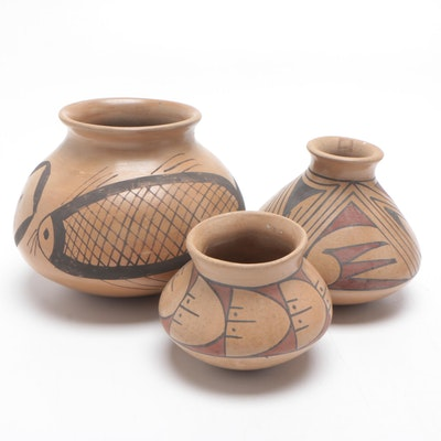 American Southwestern Slip-Glazed Earthenware Vessels, Mid-Late 20th Century