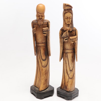 Chinese Hand Carved Bone Standing Figures, Early-Mid 20th Century