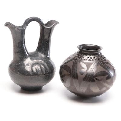 Mata Ortiz Style Blackware Wedding Vase with Burnished Blackware Vase