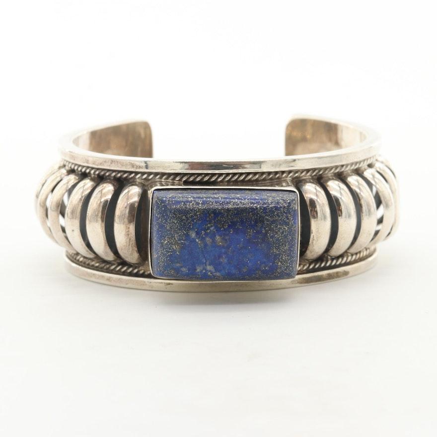 Gale Self Choctaw Sterling Silver Lapis Lazuli Cuff Bracelet