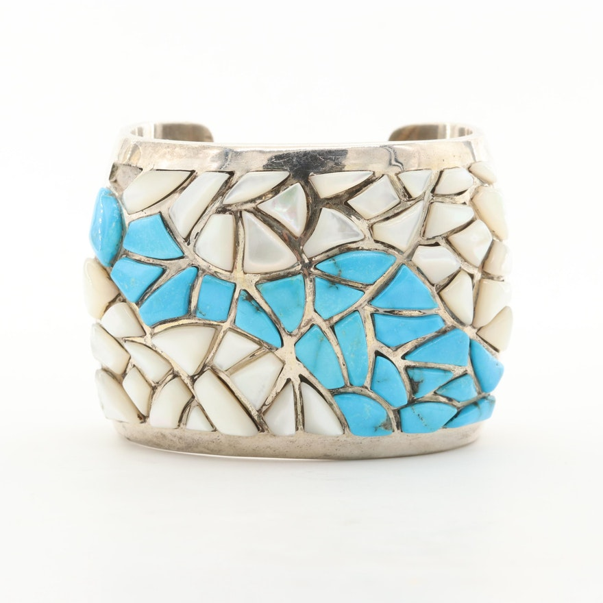 Charlie Bowie Navajo Diné Turquoise and Mother of Pearl Mosaic Cuff Bracelet
