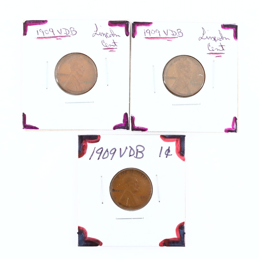 Three 1909 VDB Lincoln Wheat Cents