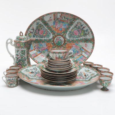 Chinese Rose Medallion Porcelain Serveware Including Platters, Pitcher, and Cups