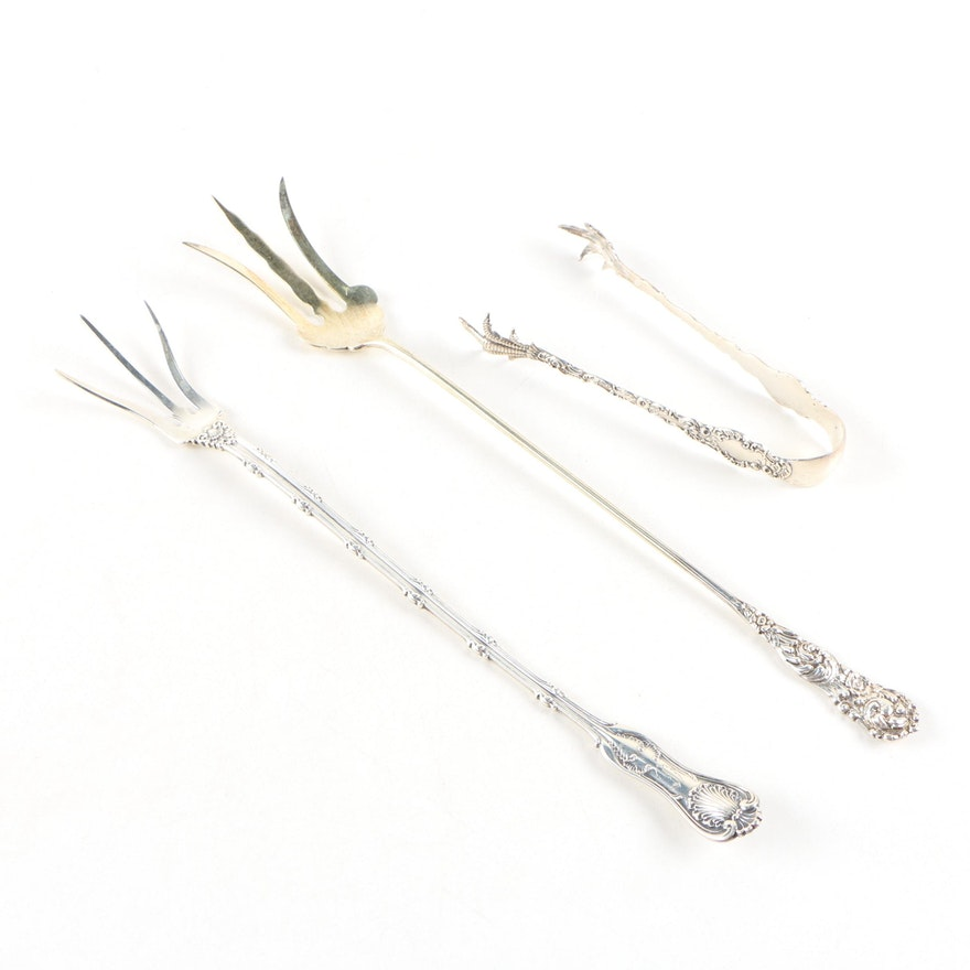 American Sterling Silver Lettuce Serving Forks and Sugar Tongs, Early 20th C.