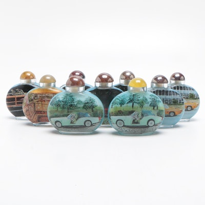 Chinese Glass Snuff Bottles Advertising Luxury and Sports Cars