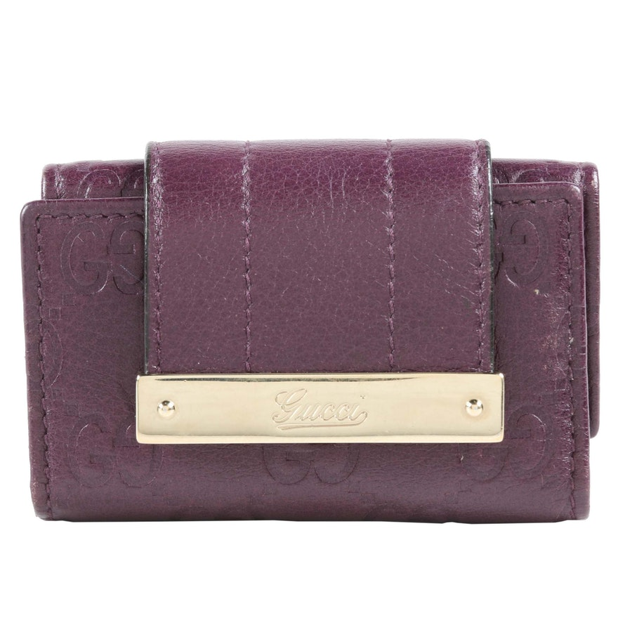 Gucci Guccissima Leather Key Case in Eggplant