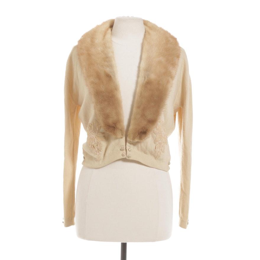 Mademoiselle Furs, Mink Fur Trimmed Cashmere Sweater