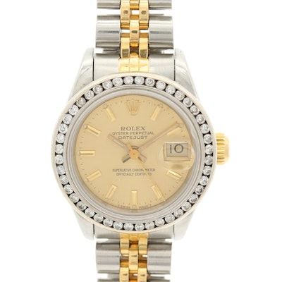 Rolex Datejust 14K and 18K Gold, Stainless Steel and Diamond Bezel Watch, 1987
