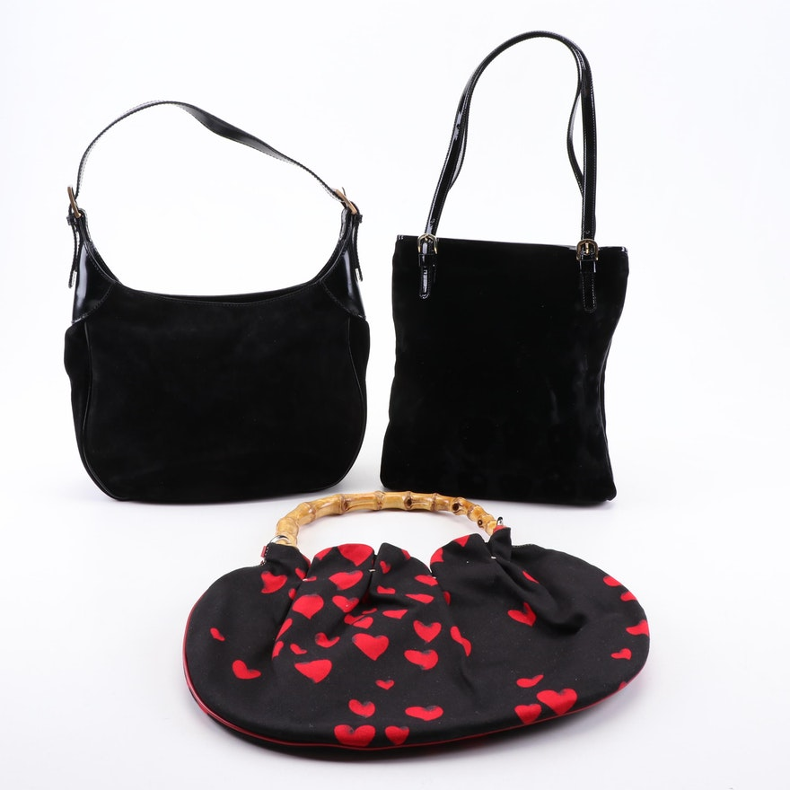 Moschino Black Velvet, Suede, and Canvas Shoulder Bags