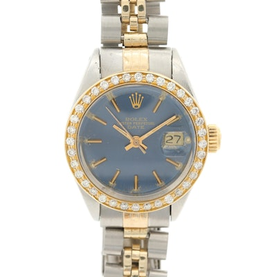 Rolex Oyster Perpetual Date Stainless Steel, 14K and 18K Diamond Wristwatch