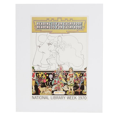 "Peter Max Offset Lithograph ""Reading is for Everybody"""