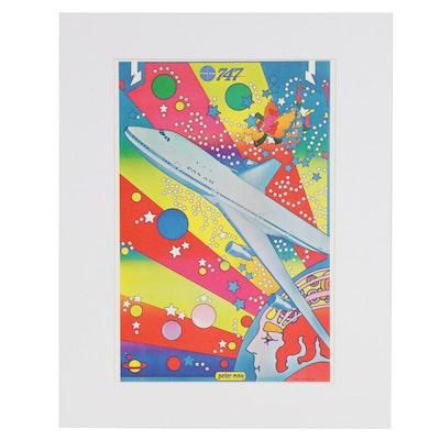 "Peter Max Offset Lithograph ""Pan Am 747"""