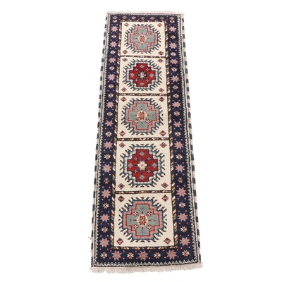 Hand-Knotted Indian Kazak Wool Carpet Runner