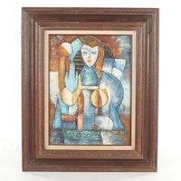 Cubist-Style Portrait Oil Painting
