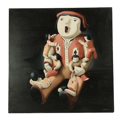 "Chuck Sabatino Acrylic Painting ""Male Storyteller"""