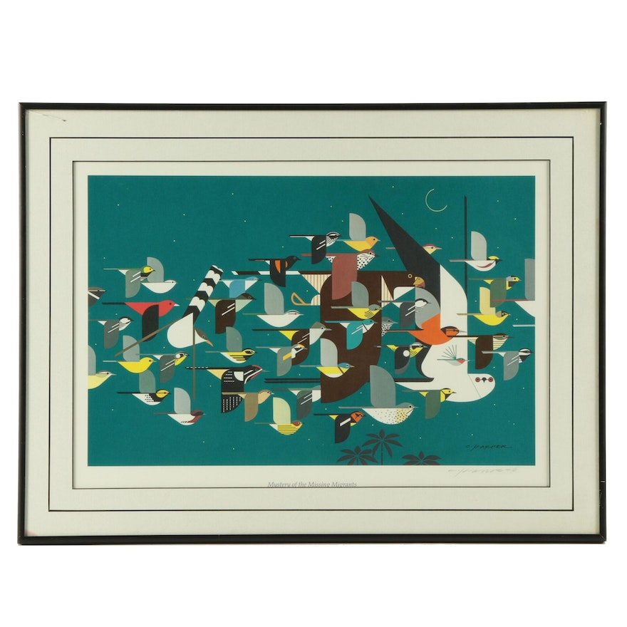 "Charley Harper Offset Lithograph ""Mystery of the Missing Migrants"""