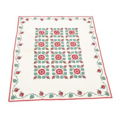 Handmade Floral Quilt, Vintage