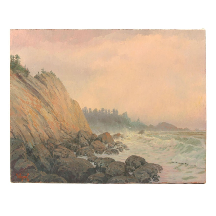 Patrick A. Woodman Landscape Oil Painting of Coastal Scene