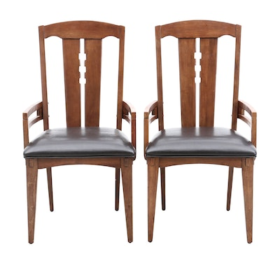 Pair of Arts and Crafts Style Dining Arm Chairs, by Riverside Furniture