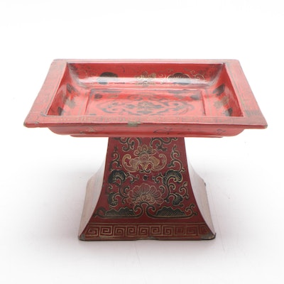 Chinese Hand Painted Red Lacquer Pedestal Tray
