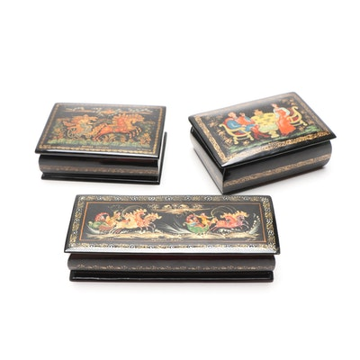 Russian Hand-Painted Lacquered Trinket Boxes, Mid 20th Century