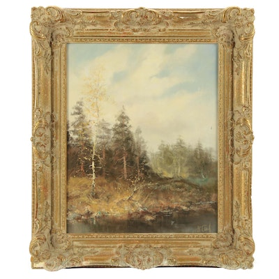 Oil Painting of Forest Landscape