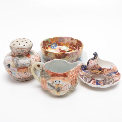 Japanese Hand Painted Porcelain Tableware Featuring Hokutosha
