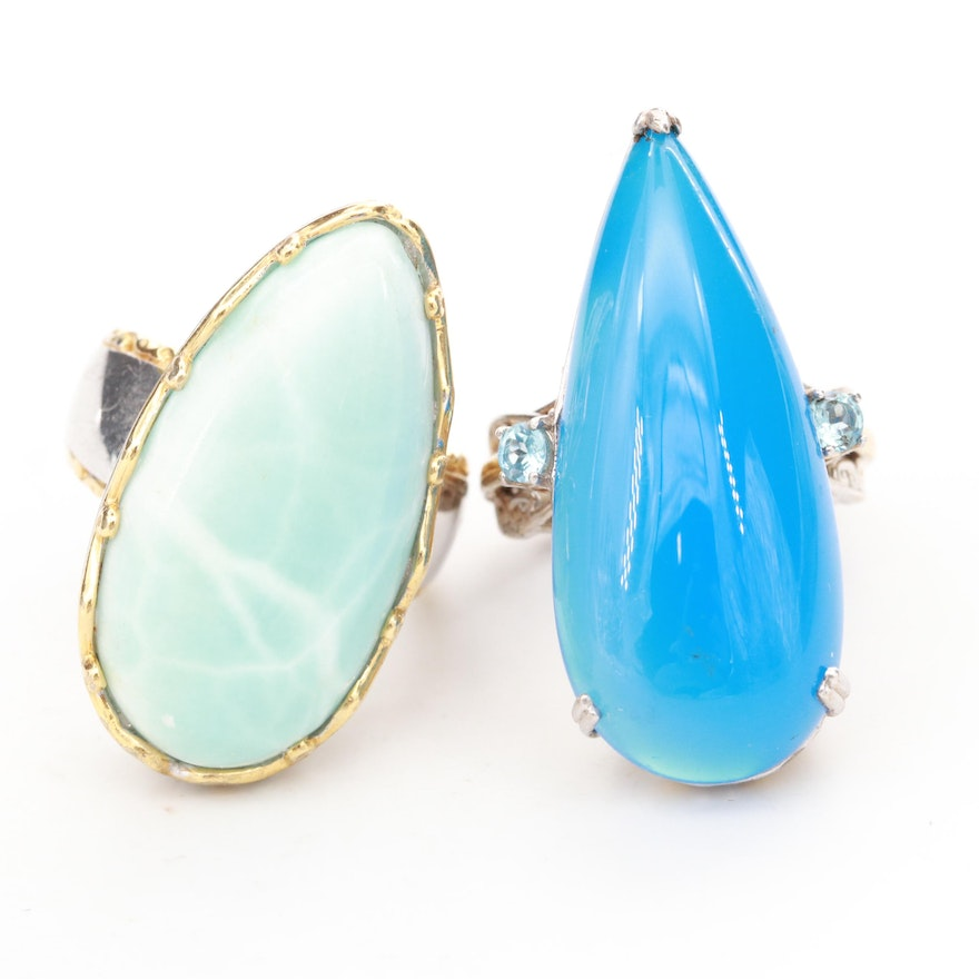 Sterling Silver Chalcedony, Blue Topaz and Larimar Rings