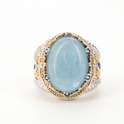Gold Wash Accents on Sterling Silver Aquamarine and Sapphire Ring