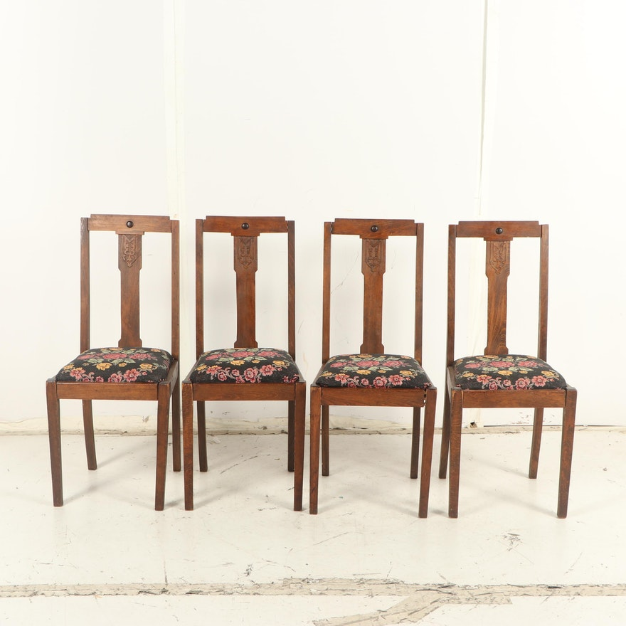Four Dark Stained Wooden Quarter-Sawn Oak Chairs, Late 19th, Early 20th Century