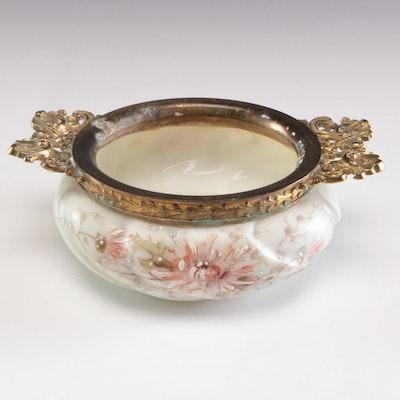 Victorian Wavecrest Enameled Art Glass Brass Handled Hair Receiver