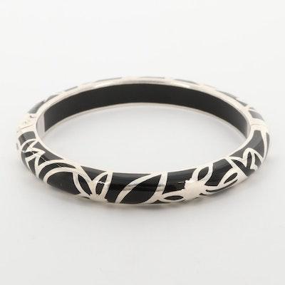 Sterling Silver Floral Hinged Bracelet