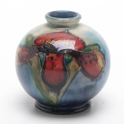 Moorcroft Hand-Painted Vase with Iris and Pansy, Early to Mid 20th Century