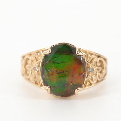 14K Yellow Gold Ammolite Triplet Ring