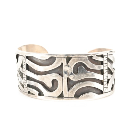 Taxco Sterling Silver Overlay Cuff Bracelet