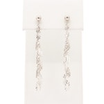 14K White Gold Diamond Cut Motif Dangle Earrings