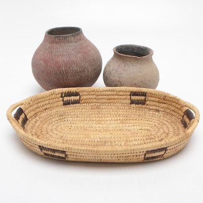 Coiled Clay Vessels with Sweet Grass Tray, Early-Mid 20th Century