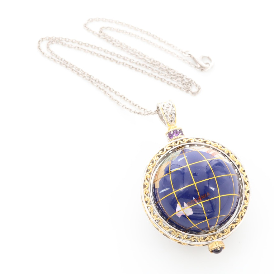 Sterling Silver Amethyst, Unakite, and Abalone Globe Pendant Necklace