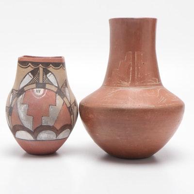 American Southwestern Style Slip Glazed Earthenware Pots, Mid-20th Century