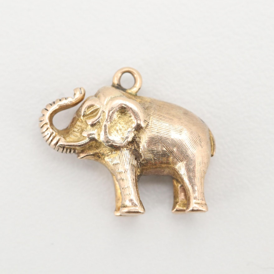 10K Yellow Gold Elephant Charm