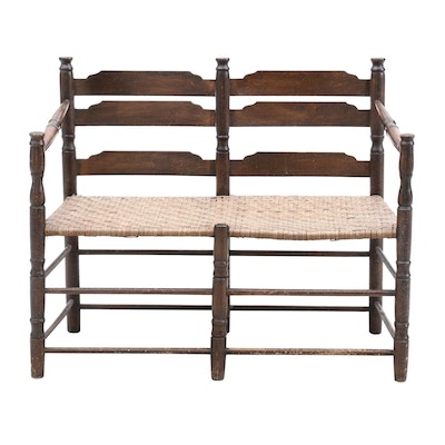 Indoor Bench with Wicker Seat
